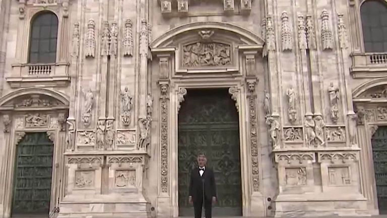 Italian tenor, Andrea Bocelli has delivered a rousing performance from an empty cathedral in an attempt to bring people together during the coronavirus lockdown.