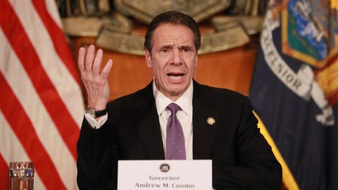 """ALBANY, NY - APRIL 17: New York Governor Andrew Cuomo gives a media availability on the coronavirus crisis on April 17, 2020 in Albany, New York. Cuomo and other governors of the east coast extend their closure non-essential businesses until May 15. """"We have to keep doing what we do. I would like to see this infection rate go down even more ... '' he said. (Photo by Matthew Cavanaugh / Getty Images)"""