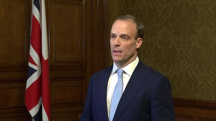 Foreign Minister Dominic Raab, now & # 39; Deputy Prime Minister & # 39; speaks after Boris Johnson has been placed in intensive care.