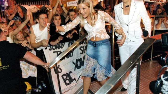 Kate leaving the Big Brother house in 2002