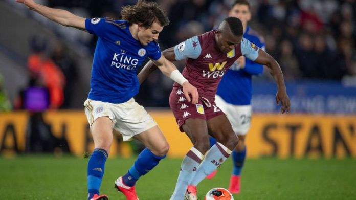 Caglar Soyuncu of Leicester City and Mbwana Samatta of Aston Villa during the Premier League match on March 09, 2020