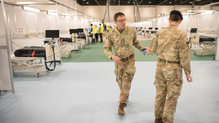 Military personnel at NHS Nightingale