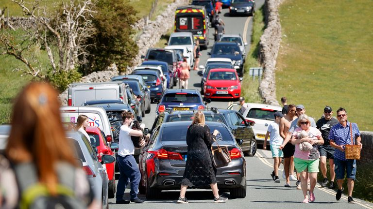 Gridlock stretches on a road in Burnsall in the Yorkshire Dales, as people flock to parks and beaches with lockdown measures eased.