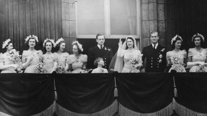 Margaret Rhodes (then Elphinstone), second from left, with other members of the royal family