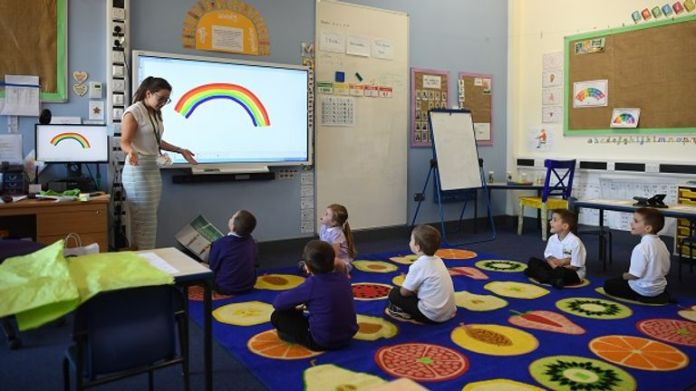 Lessons resume at Queen's Hill Primary School, Costessey, Norfolk,