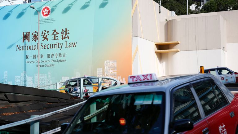 Large government adverts promoting the national security law have been placed around Hong Kong