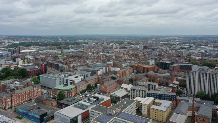 An aerial view of Leicester, Health Secretary Matt Hancock has said the Government will change the law to enforce the local lockdown in the city following a surge in the number of coronavirus cases.