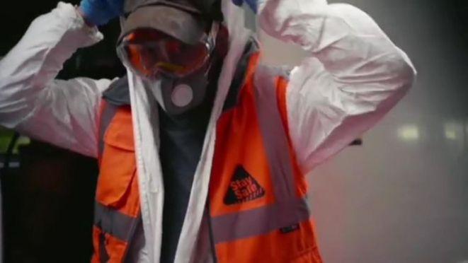 The elusive artist filmed himself spray painting the Tube. Pic: Banksy