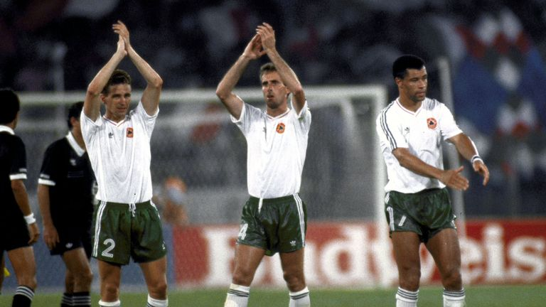 Members of Ireland's team at the 1990 World Cup quarter-final