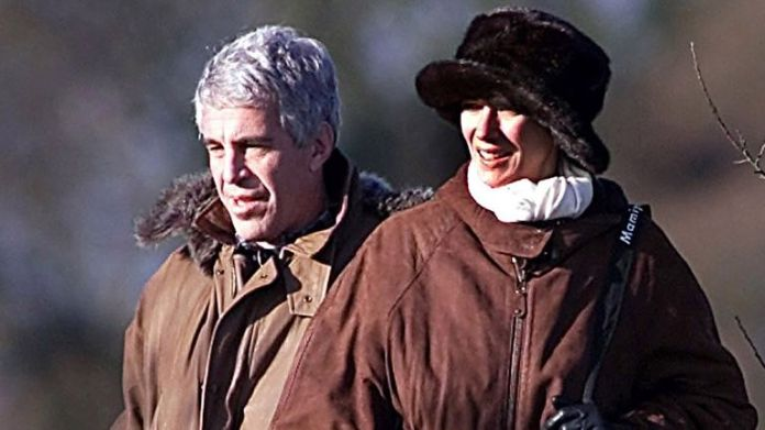 Jeffrey Epstein and Ghislaine Maxwell during a pheasant session with Prince Andrew, Sandringham, Norfolk. Photo: Albanpix / Shutterstock