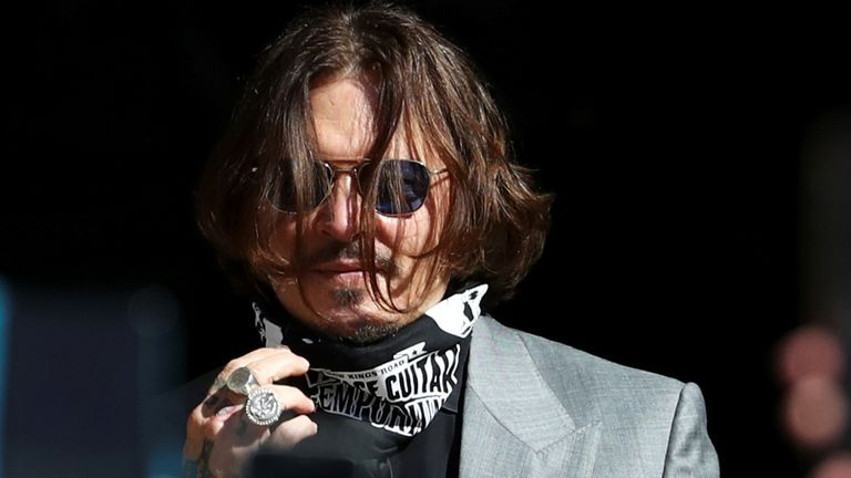 Actor Johnny Depp arrives at the High Court in London, Britain July 28, 2020. REUTERS/Simon Dawson