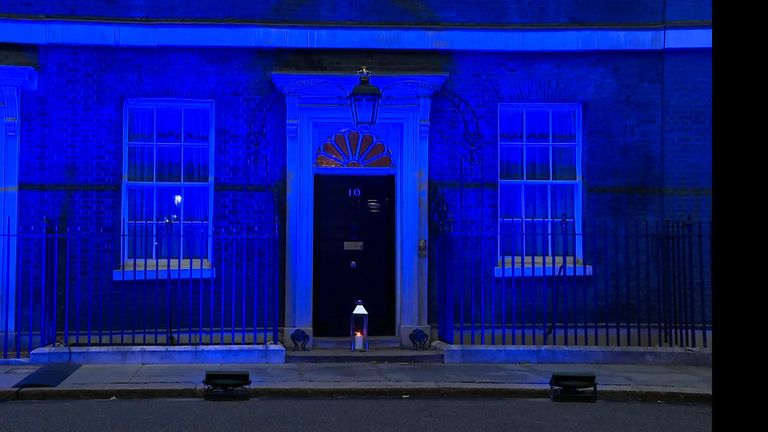 Downing Street goes blue for the NHS