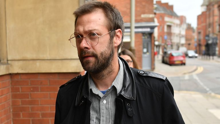 Ex-Kasabian singer, Tom Meighan, arrives at Leciester Magistrates' Court where he is appearing on a domestic assault charge.