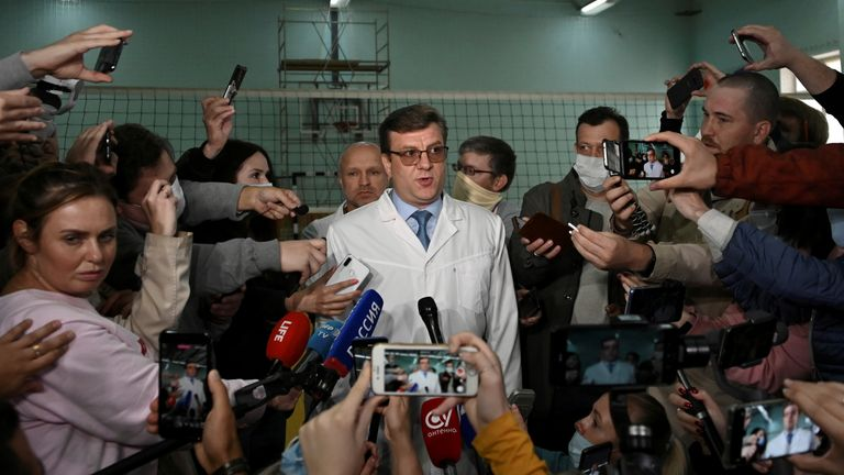 Chief doctor Alexander Murakhovsky tells media in Osmk, Russia there is no trace of poison in Mr Navalny's body