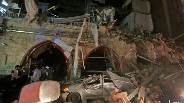 A street in the center of the Lebanese capital, Beirut, was destroyed by the explosion