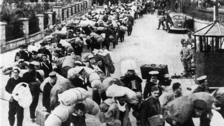 British troops in Hong Kong were shipped out in December 1941 to prison camps by the Japanese