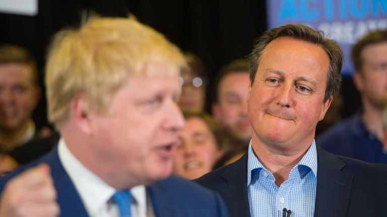 Prime Minister David Cameron watches as Mayor of London Boris Johnson speaks during a campaign event at Grey Court School in Richmond, London.