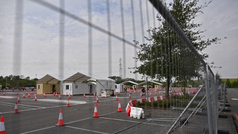A coronavirus COVID-19 testing centre is pictured in a car park at Ebbsfleet International Railway Station, in Ebbsfleet, south east of London, on April 27, 2020. - Prime Minister Boris Johnson on Monday made his first public appearance since being hospitalised with coronavirus three weeks ago, saying Britain was beginning to