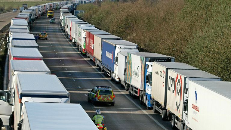 Lorry driver rest rules relaxed in effort to help port delays | Business  News | Sky News