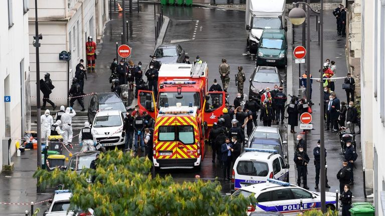Emergency services flocked to the scene in the 11th arrondissement