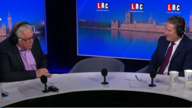 Sir Keir Starmer takes part in an LBC Radio show