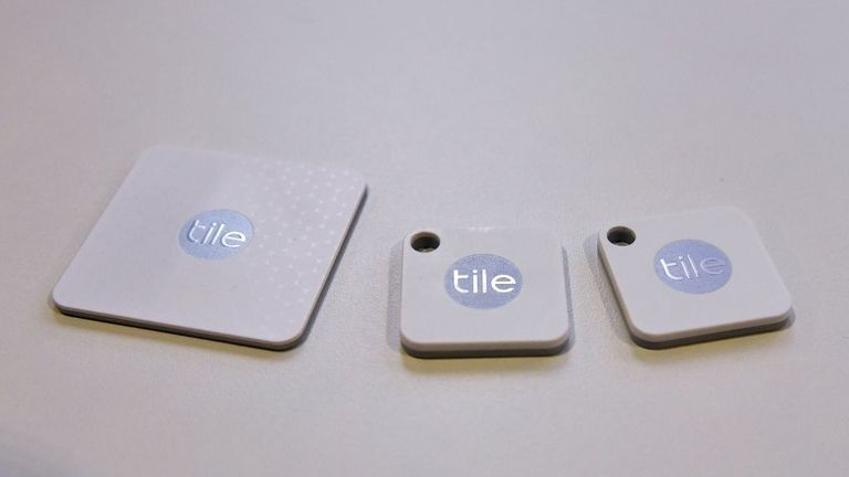 Tile bluetooth trackers are seen during CES 2018 in Las Vegas on January 10, 2018. Tile is now Amazon Alexa and Google Home compatible. / AFP PHOTO / MANDEL NGAN (Photo credit should read MANDEL NGAN/AFP via Getty Images)