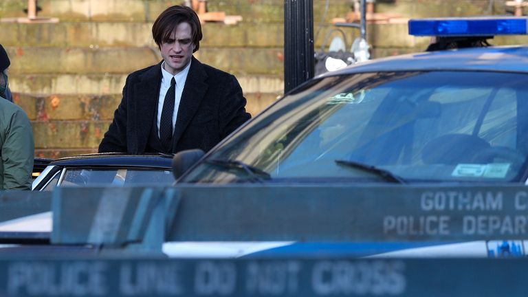 Robert Pattinson as Bruce Wayne during the filming of The Batman taking place in Liverpool