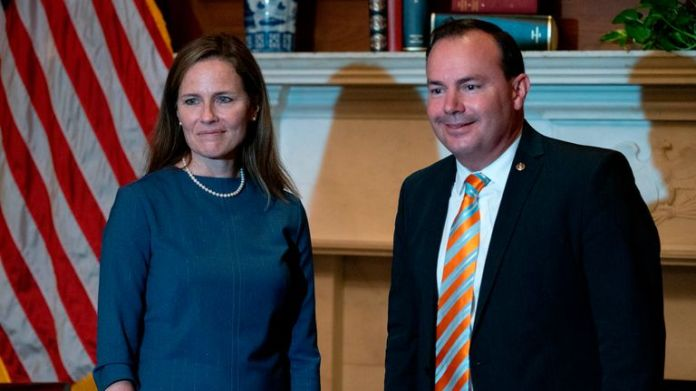 Supreme Court candidate Justice Amy Coney Barrett (L) meets with U.S. Senator Mike Lee (R-UT) at the U.S. Capitol in Washington, DC, September 29, 2020