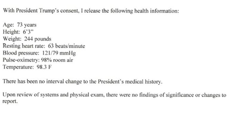 The results of Donald Trump's physical exam by his physician, Sean Conley, which were sent to White House press secretary Kayleigh McEnany, on 3 June 2020