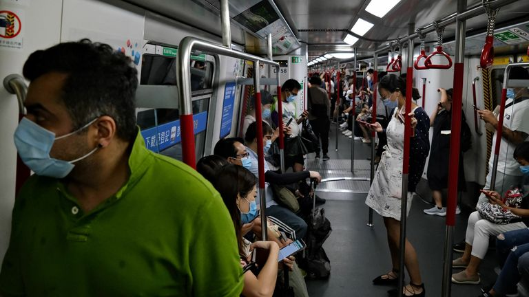 Passengers on Hong Kong's MTR system have been wearing masks since the pandemic started