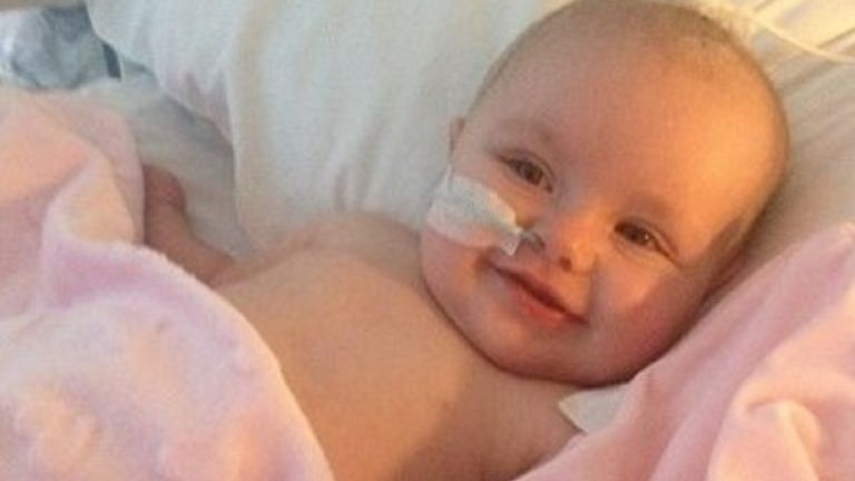 Lyra was just five months old when she had a brain tumour removed