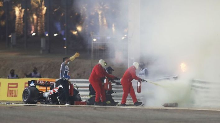Track marshals put out the fire