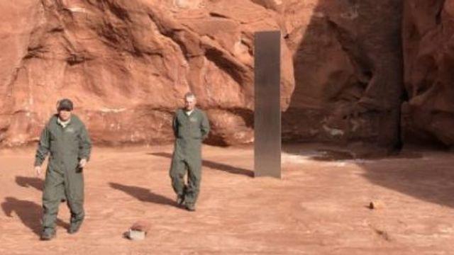Metal monolith found in Utah. Pic: Utah Department of Public Safety