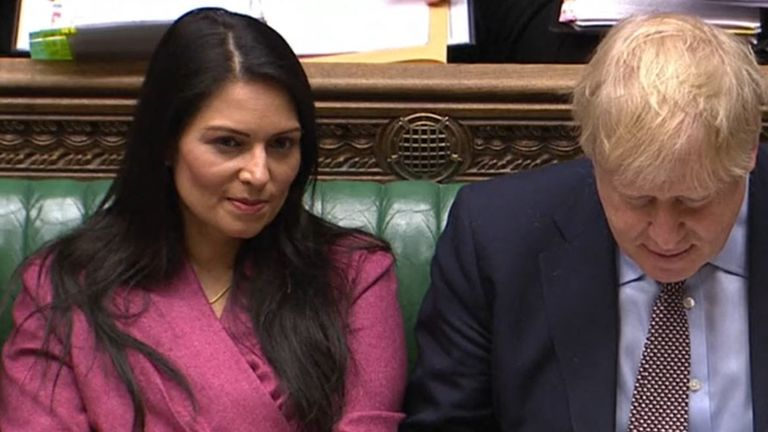 Home Secretary Priti Patel and Prime Minister Boris Johnson during Prime Minister's Questions in the House of Commons, London. Read less Picture by: House of Commons/PA Archive/PA Images Date taken: 04-Mar-2020