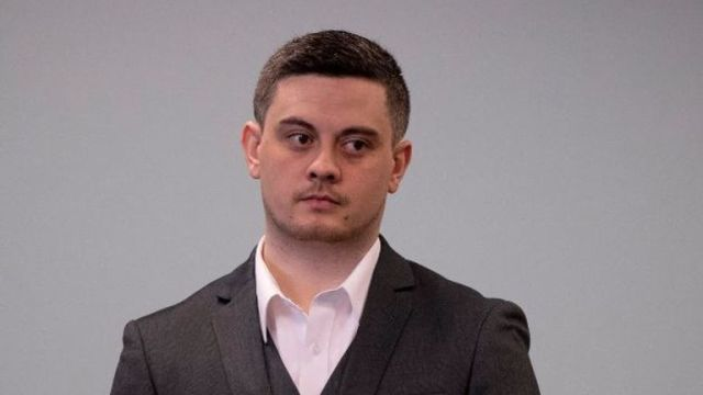 Jesse Kempson is seen at his sentencing after he was convicted of murdering Grace Millane