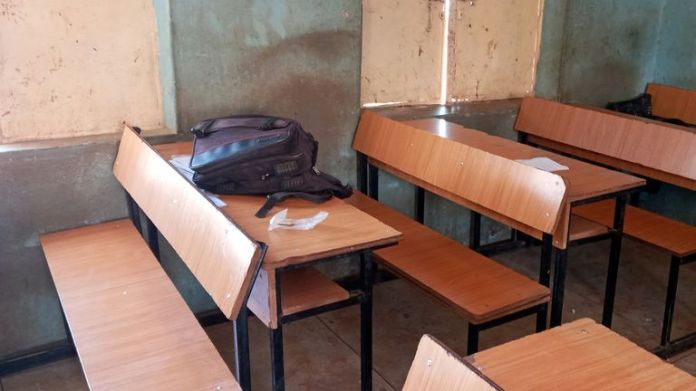School bag pictured inside government science high school after being attacked by gunmen