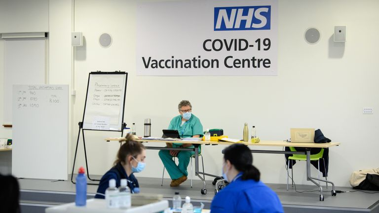 A general view of the interior of the medical area at the NHS vaccination centre in Robertson House, in Stevenage.