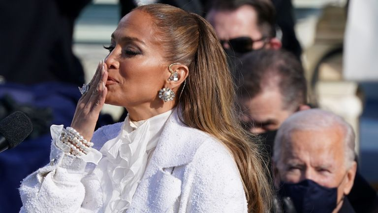 Jennifer Lopez gestures during the inauguration of Joe Biden as the 46th President of the United States on the West Front of the U.S. Capitol in Washington, U.S., January 20, 2021. REUTERS/Kevin Lamarque
