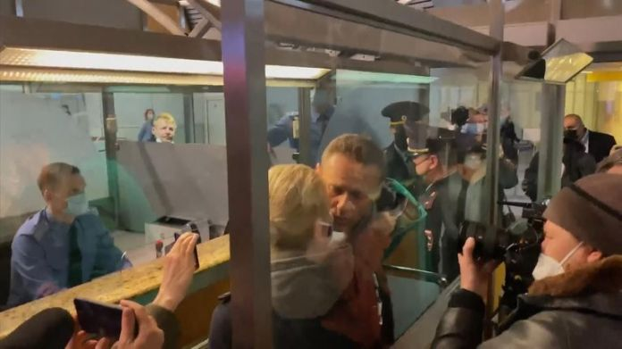 Alexi Navalny was arrested after landing at an airport in Moscow.