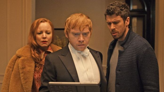 Grint with fellow Servant stars Lauren Ambrose and Toby Kebell.  Pic: Apple TV +