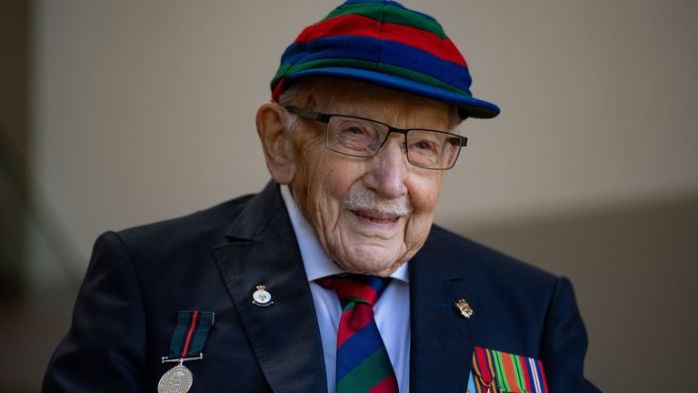 """File photo dated 24/09/20 of Captain Sir Tom Moore, who has said seeing his late wife's struggle with loneliness as she was treated in hospital struck him """"right to the heart""""."""