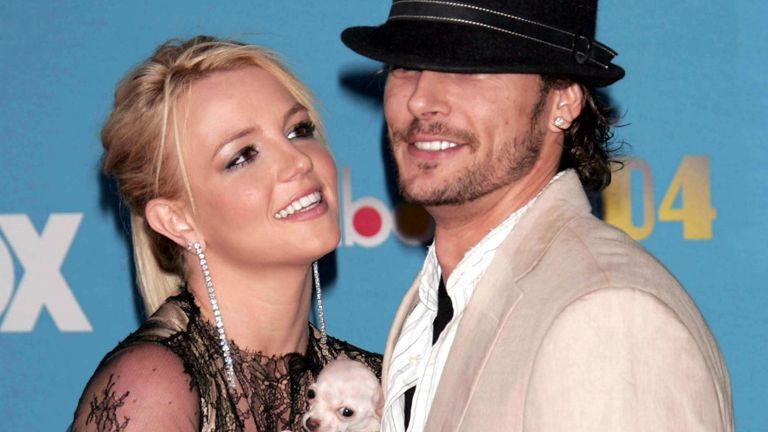 Britney Spears with her dog and Kevin Federline at the 2004 Billboard Music Awards in Las Vegas. Pic: AP