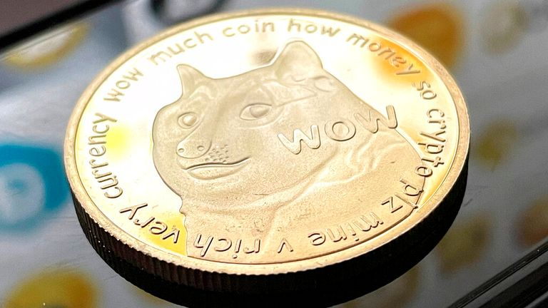 Photo by: STRF / STAR MAX / IPx 2021 1/30/21 Reddit madness pumps up Dogecoin, a cryptocurrency that started out as a joke. STAR MAX Photo: Dogecoin with Dogecoin logos photographed by an Apple iMac.