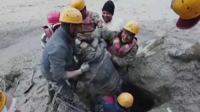 Man pulled alive from mud and debris after glacier bursts