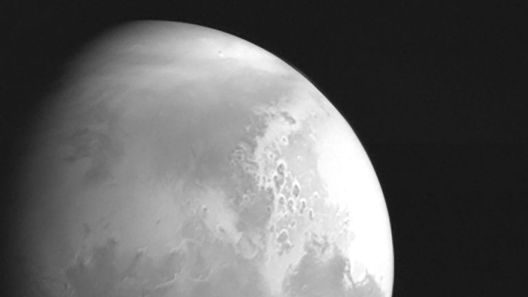 A monochrome image of Mars captured by China's Tianwen-1 spacecraft. Image: CNSA