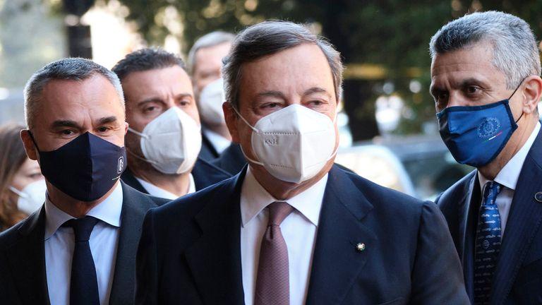 Italian Prime Minister Mario Draghi (centre). Pic: AP
