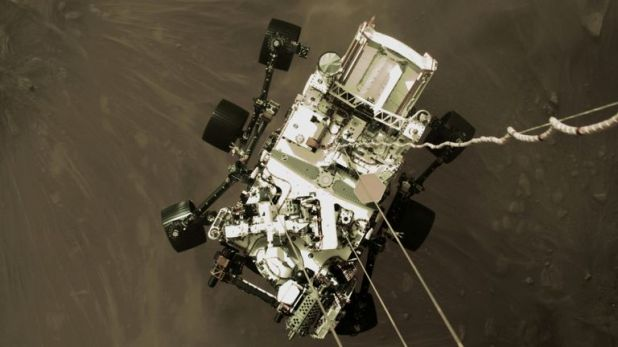 NASA's Perseverance rover descended to land on Mars in a still image taken from a descend stage video camera taken on February 18, 2021.  Handout via NASA / JPL-Caltech / Reuters