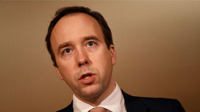 Health Secretary Matt Hancock during a media briefing in Downing Street