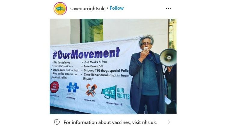 Piers Corbyn appears a number of time on Save Our Rights' Instagram page, and the groups logo appears alongside a number of issues, including a call to stop vaccinations. Pic: Instagram/SaveOurRightsUK