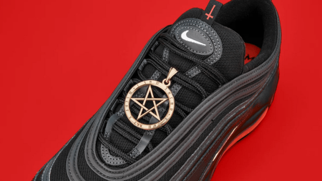 A pentagram, a symbol of Satanism, adorns the top of the shoes. Pic: MSCHF